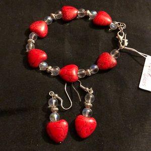 New Heart bracelet and earrings set